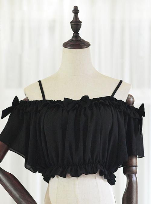 Chiffon Ruffles Sling Lolita Super Short Shirt