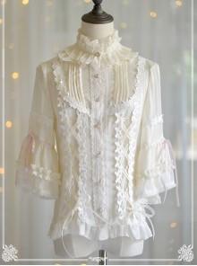 Trumpet Sleeve Stand Collar Chiffon Lolita Shirt