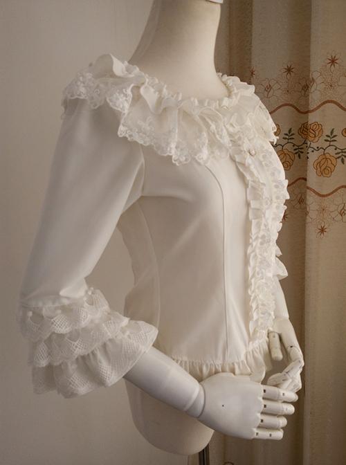 White Chiffon Ruffles Classic Lolita Seven-quarter Sleeve Shirt