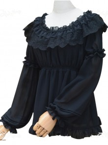 Ruffle Collar Lace Classic Lolita Long Puff Sleeves Shirt