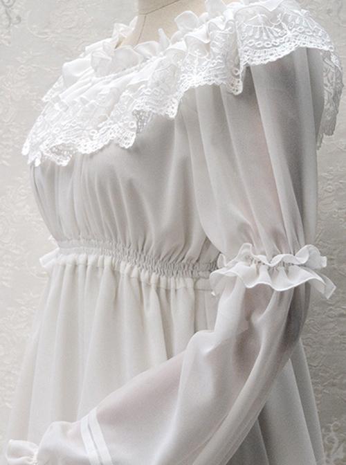 Ruffle Collar Lace Classic Lolita Long Puff Sleeves Shirt