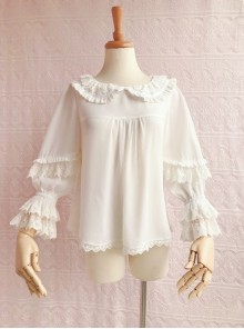 Cute Chiffon Ruffle Doll Collar Lolita Nine Quarter Sleeve Shirt
