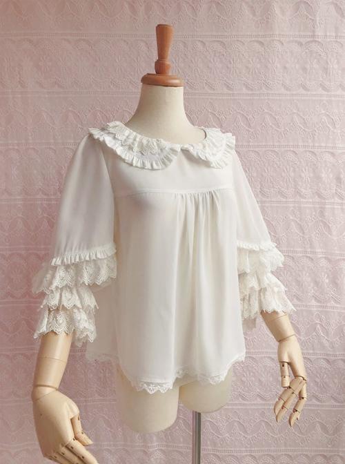 Cute Chiffon Ruffle Doll Collar Lolita Nine Quarter Sleeve Shirt