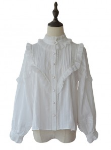 White Retro Ruffle Little Stand Collar Long Sleeve Classic Lolita Shirt