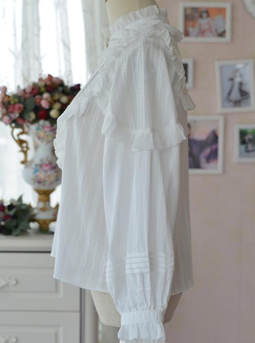 White Retro Ruffle Little Stand Collar Long Sleeve Classic Lolita Shirt