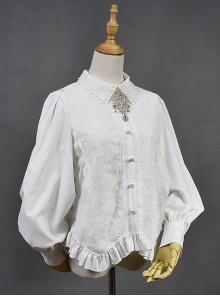 White Retro Hepburn Palace Style Embroidery Classic Lolita Shirt