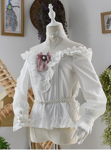 White Off Shoulder Ruffles Classic Lolita Long Sleeve Shirt