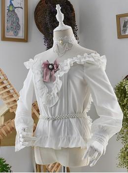 White Off Shoulder Ruffles Classic Lolita Long Sleeve Shirt