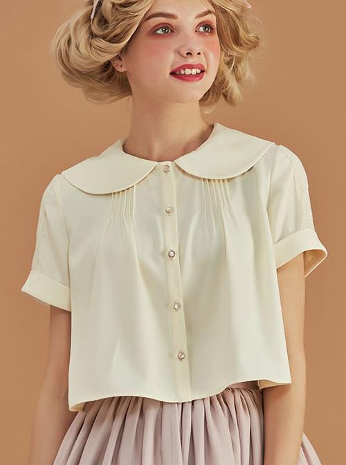 Antique Chair Series Apricot Doll Collar Short Sleeve Classic Lolita Shirt