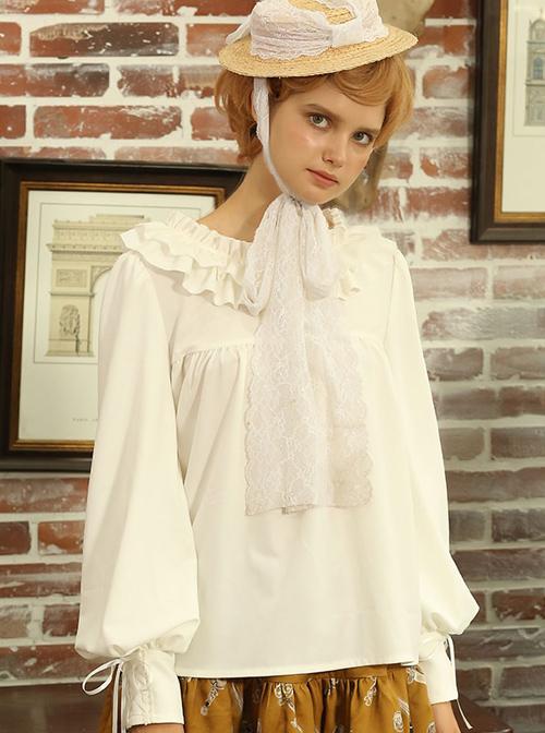 Knife And Sword War Series Ruffle Collar Long Sleeve Lolita Shirt
