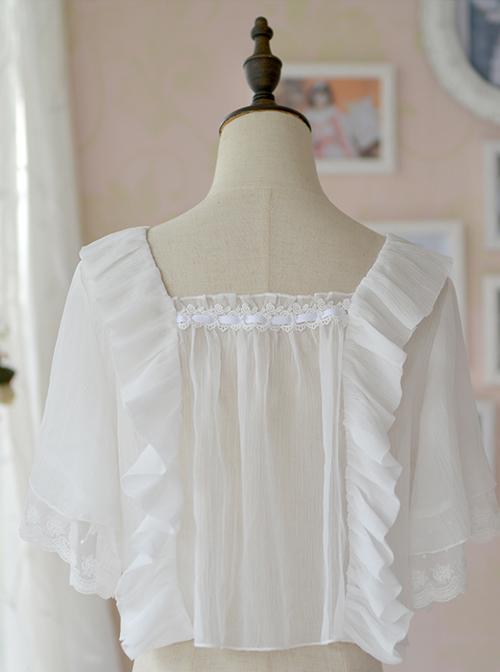 Ruffles White Classic Lolita Short Style Pullover Shirt