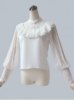 Chinese Style White Lace Sheep-leg Sleeve Classic Lolita Shirt