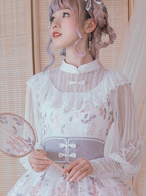 Chinese Style White Lace Sheep-leg Sleeve Classic Lolita Shirt