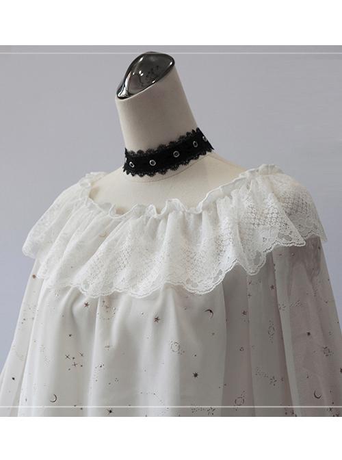 Bronzing White Chiffon Classic Lolita Long Sleeve Shirt