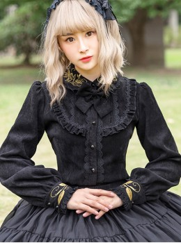 Thicken Corduroy Gothic Lolita Long Sleeve Shirt