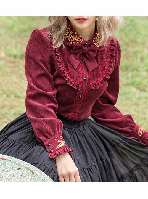 Thicken Corduroy Gothic Lolita Long Sleeve Shirt