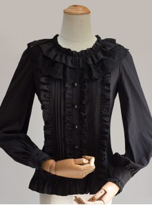 Cute Pure Black Or White Classic Lolita Long Sleeve Shirt