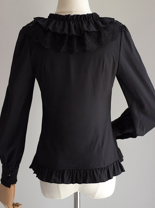 Cute Pure Black Or White Classic Lolita Long Sleeve Shirt