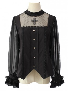 Simple And Elegant Dark Cross Lace Gothic Lolita Ruffle Standing Collar Shirt