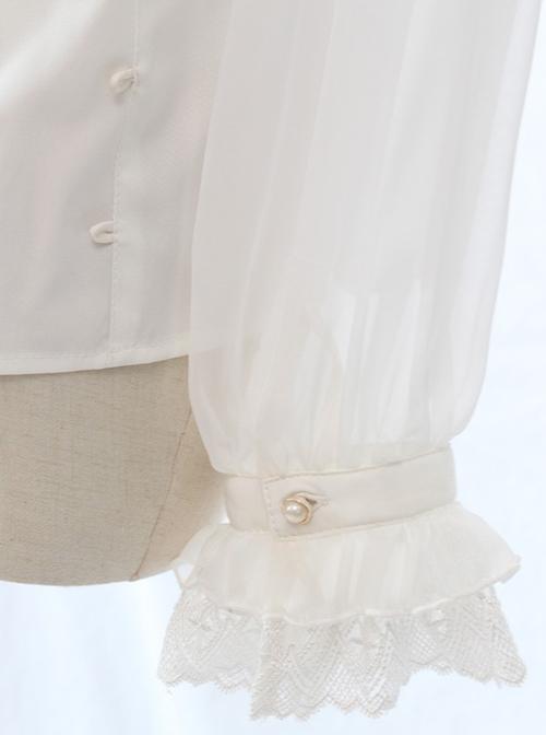 Simple And Elegant Dark Cross Lace Gothic Lolita Ruffle Standing Collar Shirt