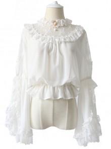 Lace Ruffle Pendant Classic Lolita Chiffon Shirt