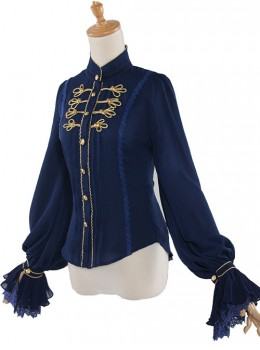 Fog-moon And Crown Series Chiffon Elegance Classic Lolita Long Sleeve Shirt