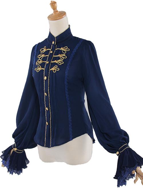 Fog-moon And Crown Series Chiffon Elegance Classic Lolita Long Sleeve Shirt