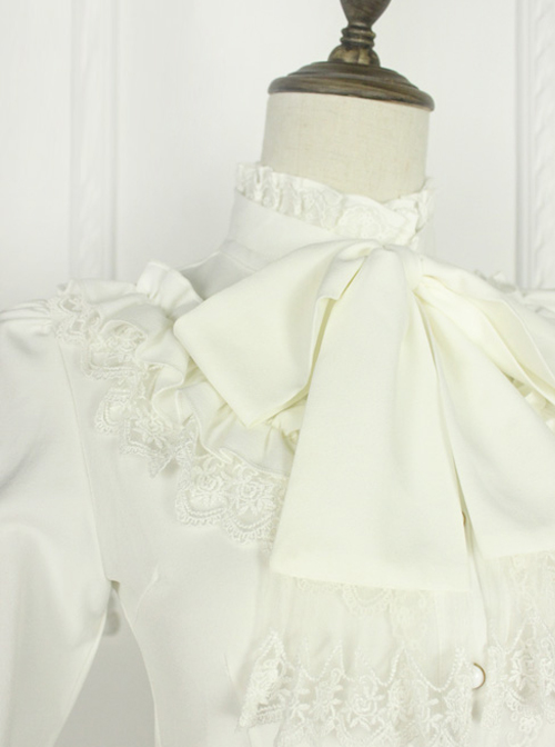 Earl Girl Series Retro Elegant Thick Chiffon Bowknot Classic Lolita Long Sleeve Shirt