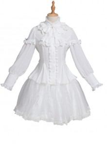 Magic Tea Party Rose Knight Series Classic Lolita White Or Black Long Sleeve Shirt