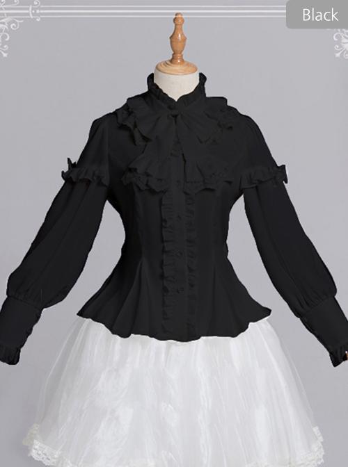 Magic Tea Party Rose Knight Series Classic Lolita White Or Black Long Sleeve Shirt