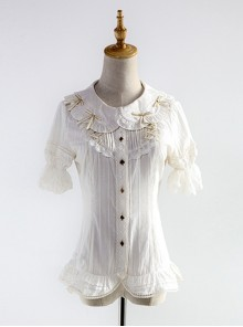 Alice's Dreamland Series White Doll Collar Short Sleeve Classic Lolita Shirt