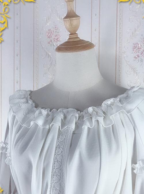 Strawberry Witch Mechanical Balloon Series White Chiffon Classic Lolita Half Sleeve Shirt