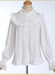 White Cotton Little High Collar Classic Lolita Long Sleeve Shirt