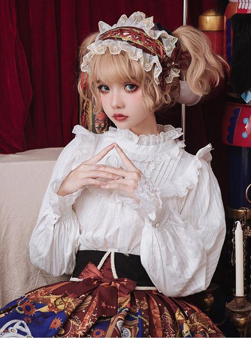 White Cotton Little High Collar Classic Lolita Long Sleeve Shirt