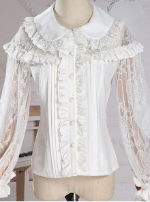Retro Doll-collar Lace Hollowed Out Classic Lolita Long Sleeve Shirt