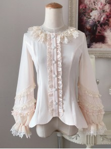 Colored Glaze Fence Series Petal Hem Classic Lolita Lace Long Sleeve Shirt