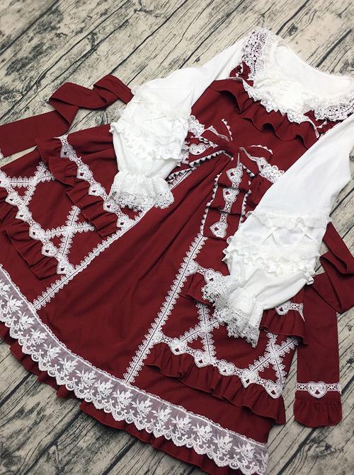 Colored Glaze Fence Series Petal Hem Classic Lolita Lace Long Sleeve Shirt
