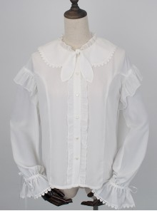 White Chiffon Cute Rabbit Ears Doll Collar Classic Lolita Long Sleeve Shirt