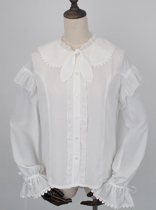 White Chiffon Cute Rabbit Ears Doll Collar Classic Lolita Long Sleeve Shirt