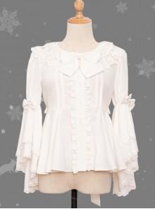 Magic Tea Party Little Fox Buys Gloves Series White Classic Lolita Long Sleeve Shirt