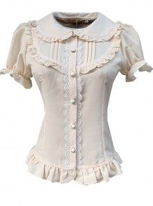 Elegant Doll Collar Ruffle Classic Lolita White Or Apricot Short Sleeve Shirt