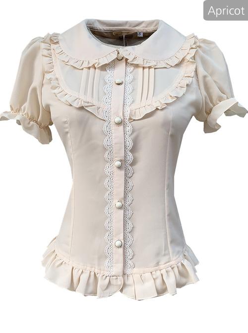 Elegant Doll Collar Ruffle Classic Lolita White Or Apricot Short Sleeve Shirt