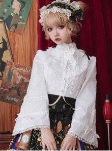 White Or Black High Collar Ruffle Classic Lolita Long Sleeve Shirt