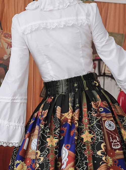 White Or Black High Collar Ruffle Classic Lolita Long Sleeve Shirt