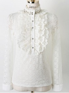 Pearl Small High Collar Lace Lolita Long Sleeve Shirt