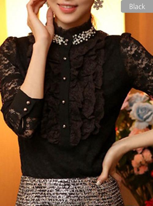 Pearl Small High Collar Lace Lolita Long Sleeve Shirt