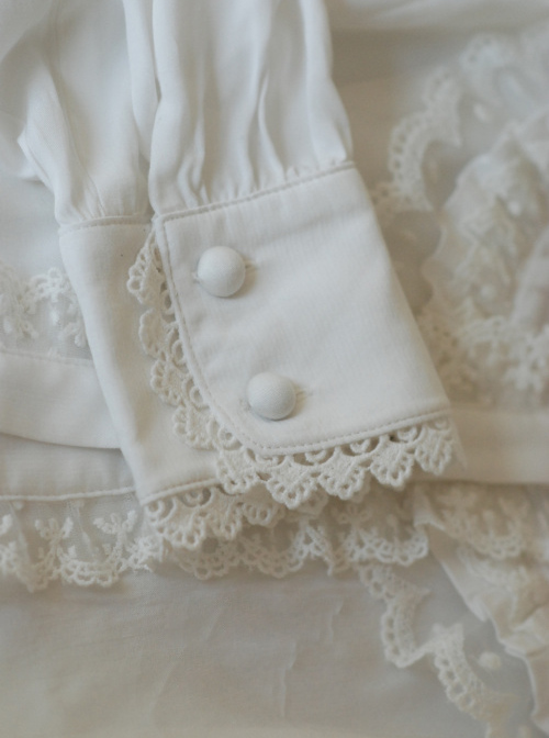 Lace Ruffle White Lolita Long Sleeve Shirt And Retro Lace Black Silk Bowknot-tie Brooch