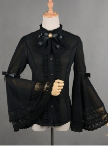 Chiffon Lace Big Cuff Bowknot Classic Lolita Long Sleeve Shirt