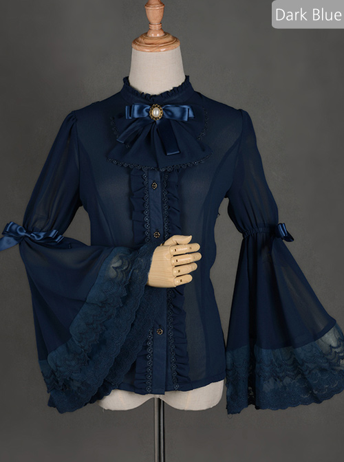 Chiffon Lace Big Cuff Bowknot Classic Lolita Long Sleeve Shirt