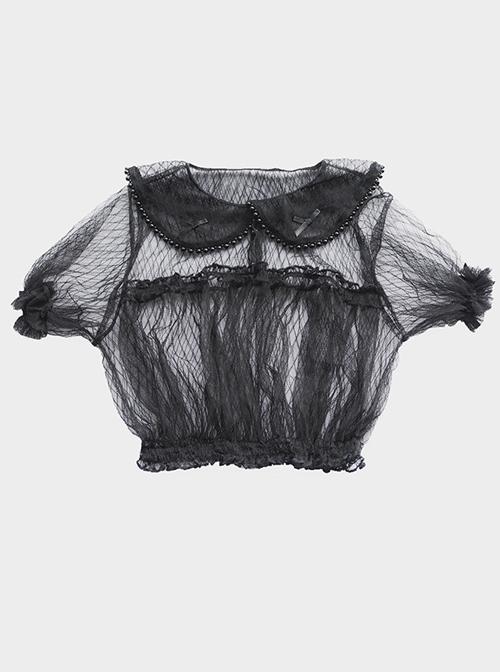 Lapel Inside Lace Shirt Lolita Grids Blouse